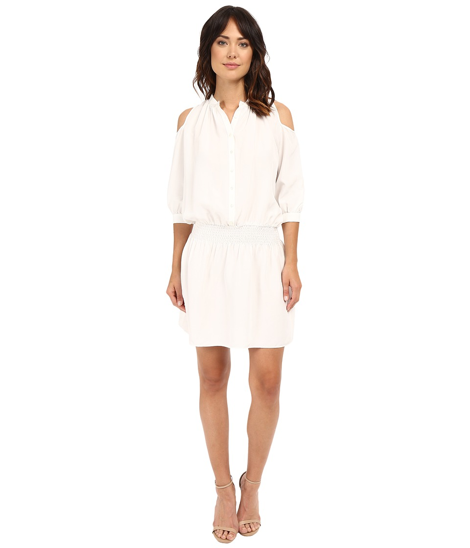 Nicole Miller - Hillsy Habotai Smoched Shirtdress (Ivory) Women's Dress