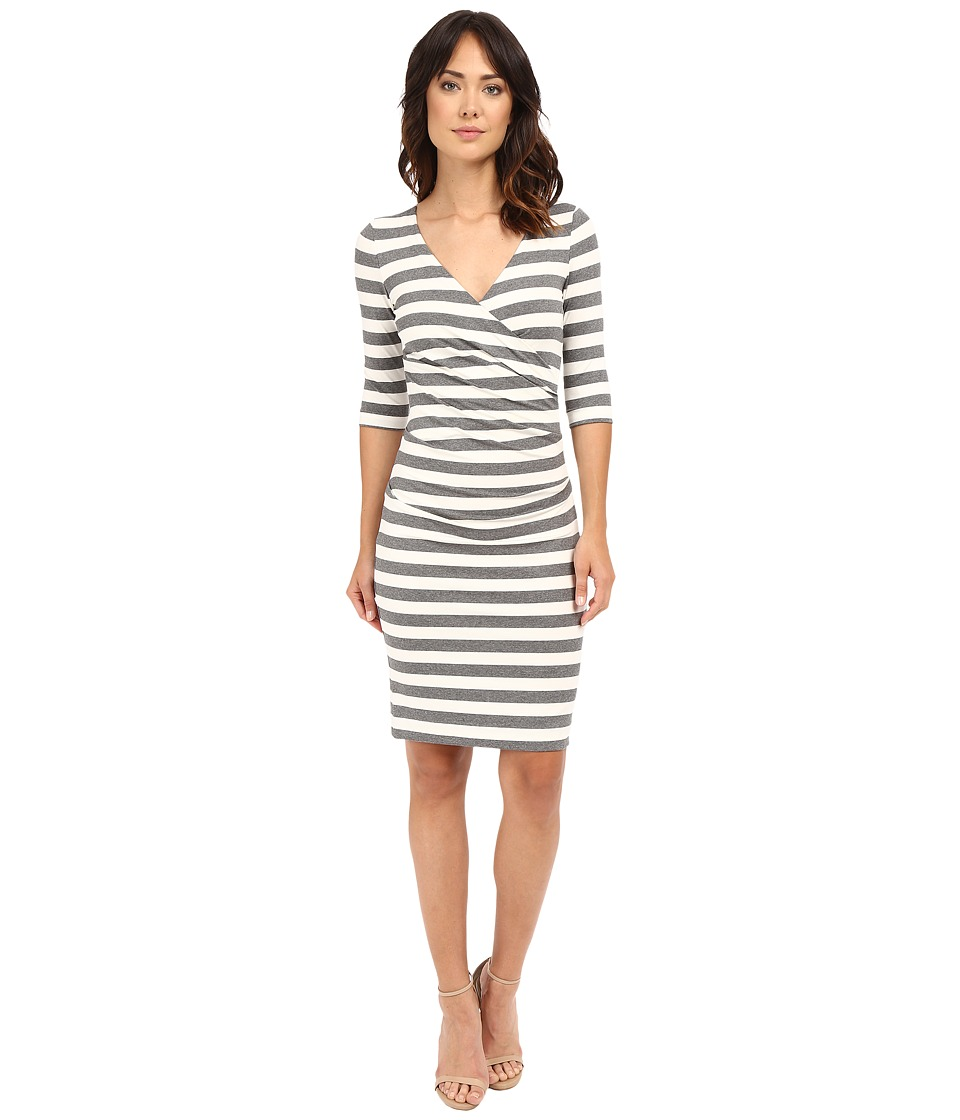 Nicole Miller Beky Short Sleeve Stripe Soft Jersey Dress (Grey/White) Women