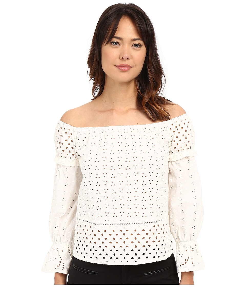 Nicole Miller - Off the Shoulder Eyelet Peasant Top (White) Women's Clothing