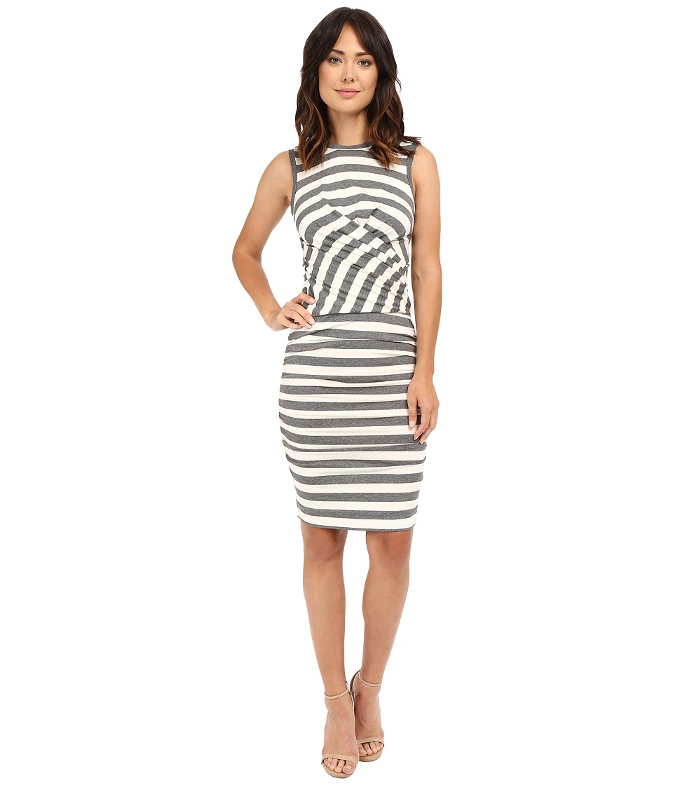 Nicole Miller Soft Stripe Jersey Blouson Wrap Dress