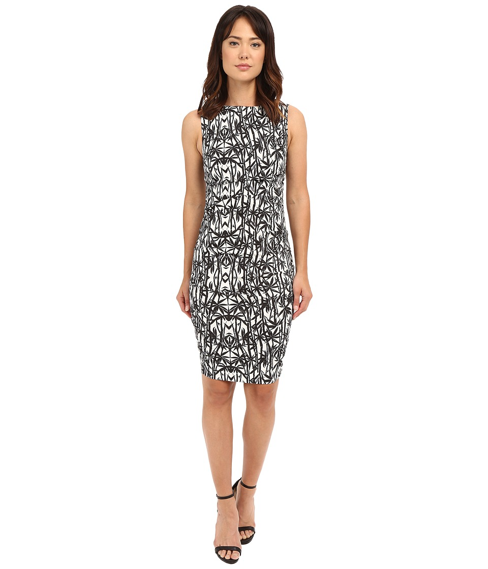 Nicole Miller - Bamboozled Lauren Linen Sheath (Black/White) Women's Dress
