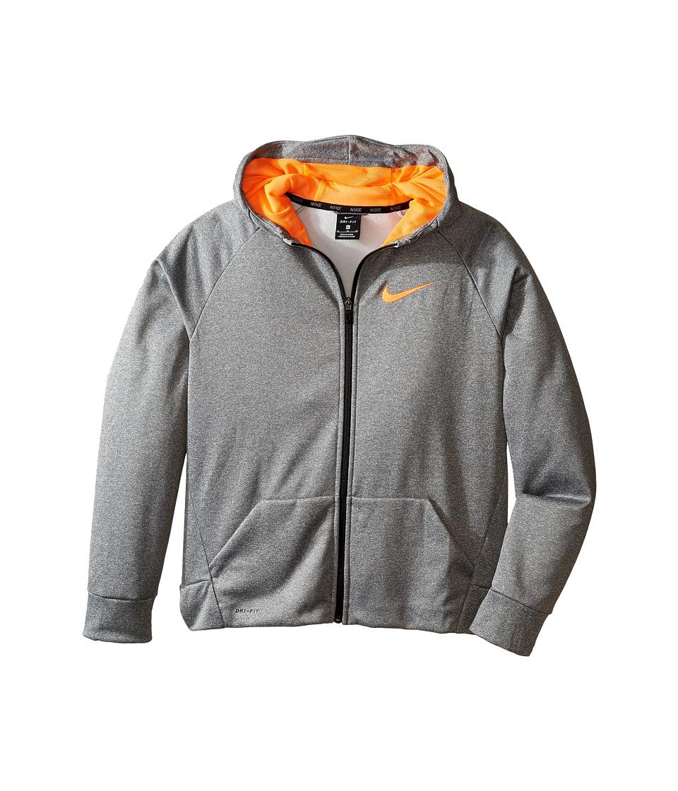 Nike Kids - Therma Full-Zip Hoodie (Little Kids/Big Kids) (Dark Grey Heather/Total Orange) Boy's Sweatshirt