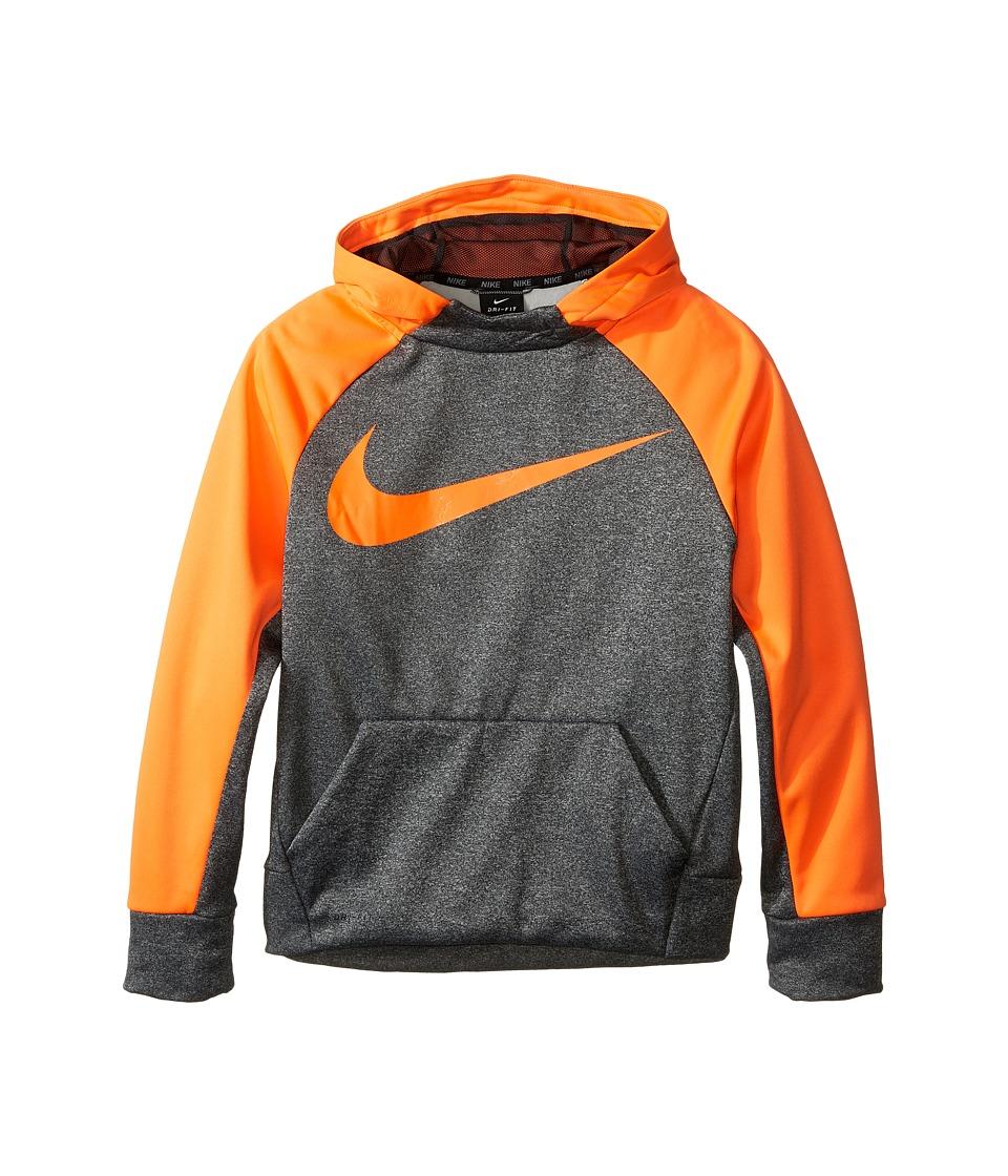 Nike Kids - Therma Hoodie (Little Kids/Big Kids) (Charcoal Heather/Total Orange) Boy's Sweatshirt