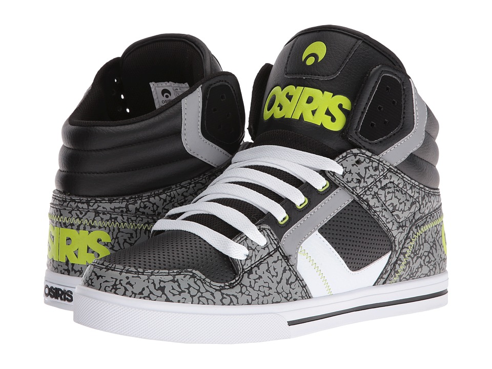 Osiris - Clone (Black/Lime/Elephant) Men's Skate Shoes