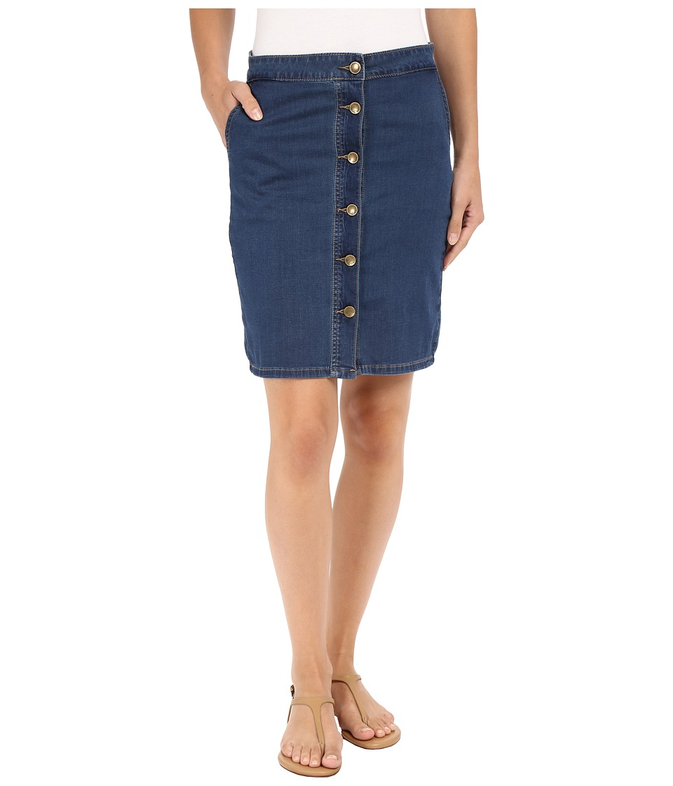 KUT from the Kloth Kristen Button Up Front Skirt in Muse w/ Dark Stone (Muse/Dark Stone) Women
