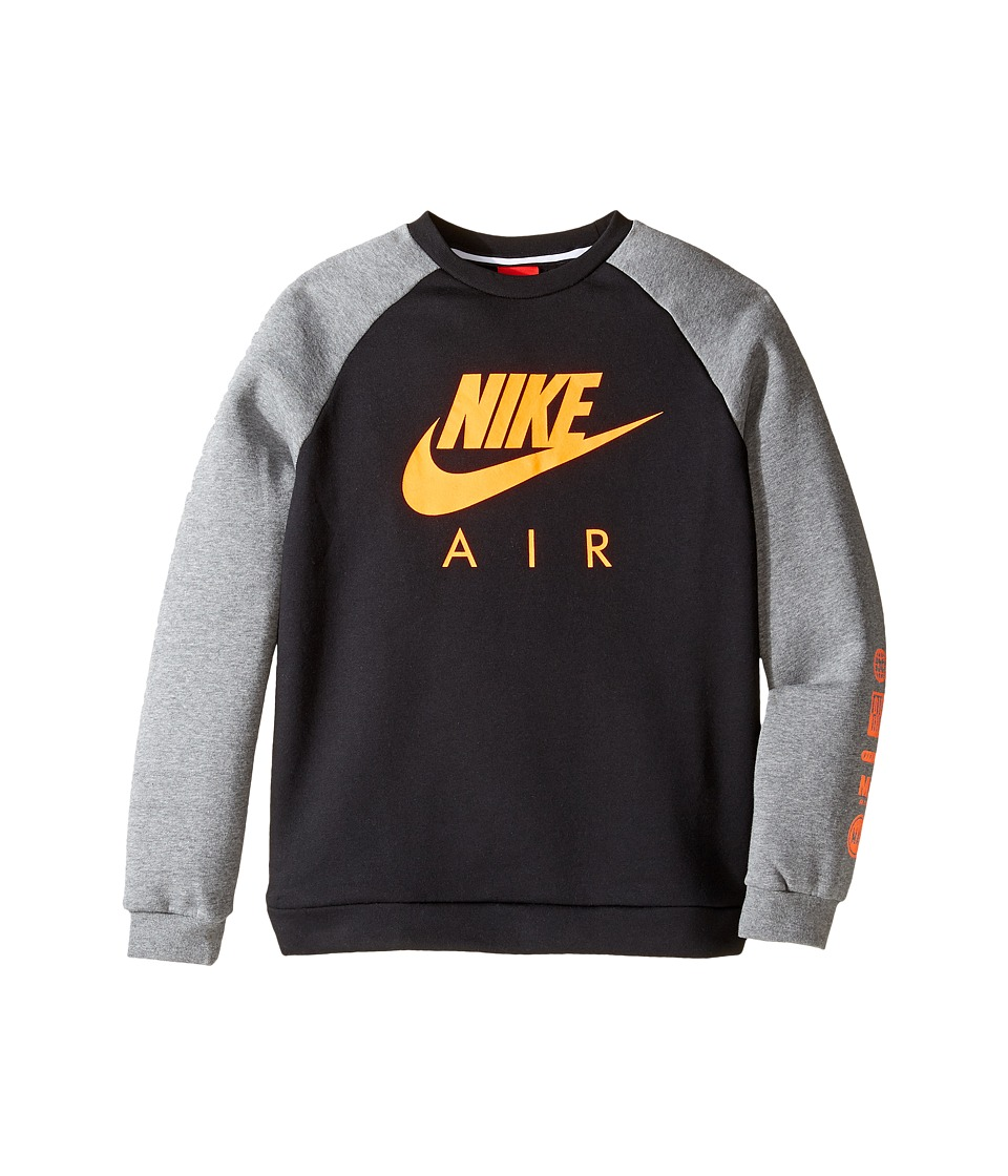 Nike Kids - Sportswear Crew (Little Kids/Big Kids) (Black/Carbon Heather/Total Orange) Boy's Clothing