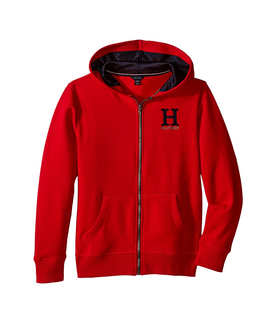 Tommy Hilfiger Kids - Long Sleeve Matt Logo Hilfiger Hoodie (Big Kids) (Apple Red) Boy's Sweatshirt
