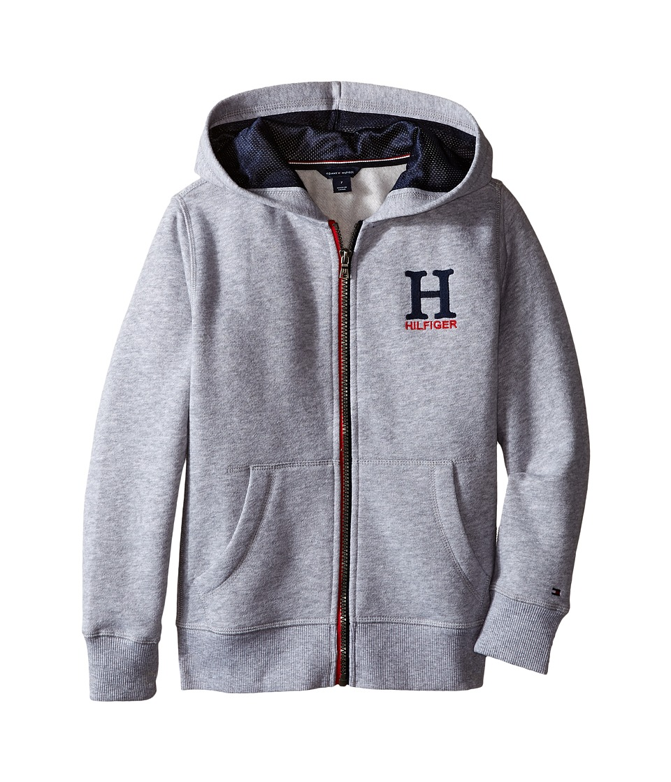 Tommy Hilfiger Kids - Long Sleeve Matt Logo Hilfiger Hoodie (Toddler/Little Kids) (Grey Heather) Boy's Sweatshirt