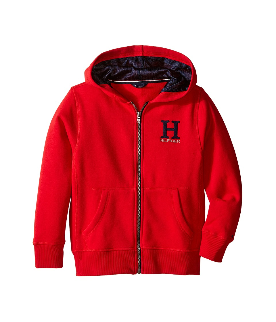 Tommy Hilfiger Kids - Long Sleeve Matt Logo Hilfiger Hoodie (Toddler/Little Kids) (Apple Red) Boy's Sweatshirt