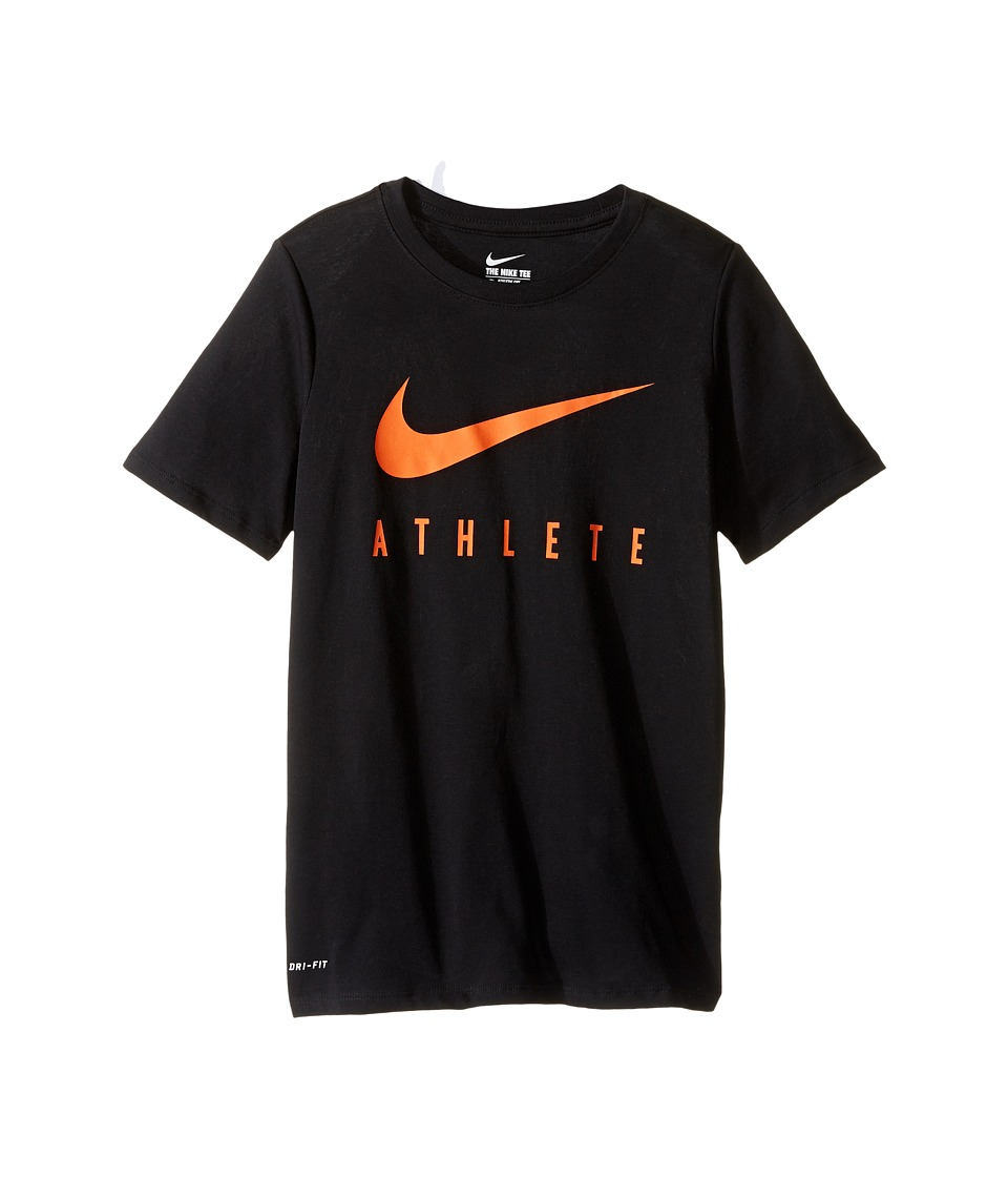 Nike Kids - Athlete Swoosh Training T-Shirt (Little Kids/Big Kids) (Black/Safety Orange) Boy's Clothing