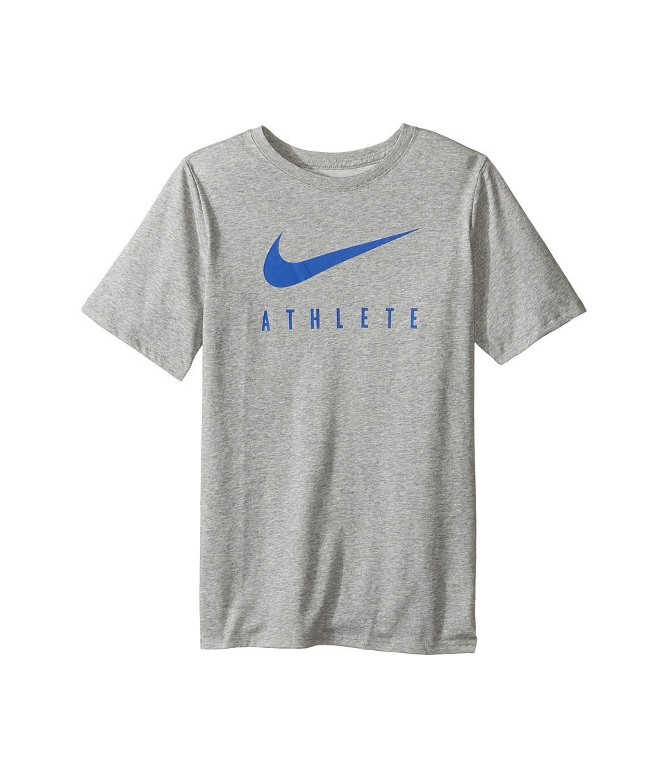 Nike Kids - Athlete Swoosh Training T-Shirt (Little Kids/Big Kids) (Dark Grey Heather/Game Royal) Boy's Clothing