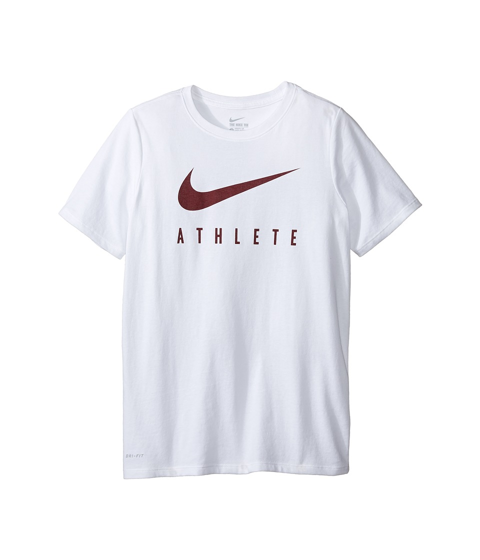 Nike Kids - Athlete Swoosh Training T-Shirt (Little Kids/Big Kids) (White/Team Red) Boy's Clothing