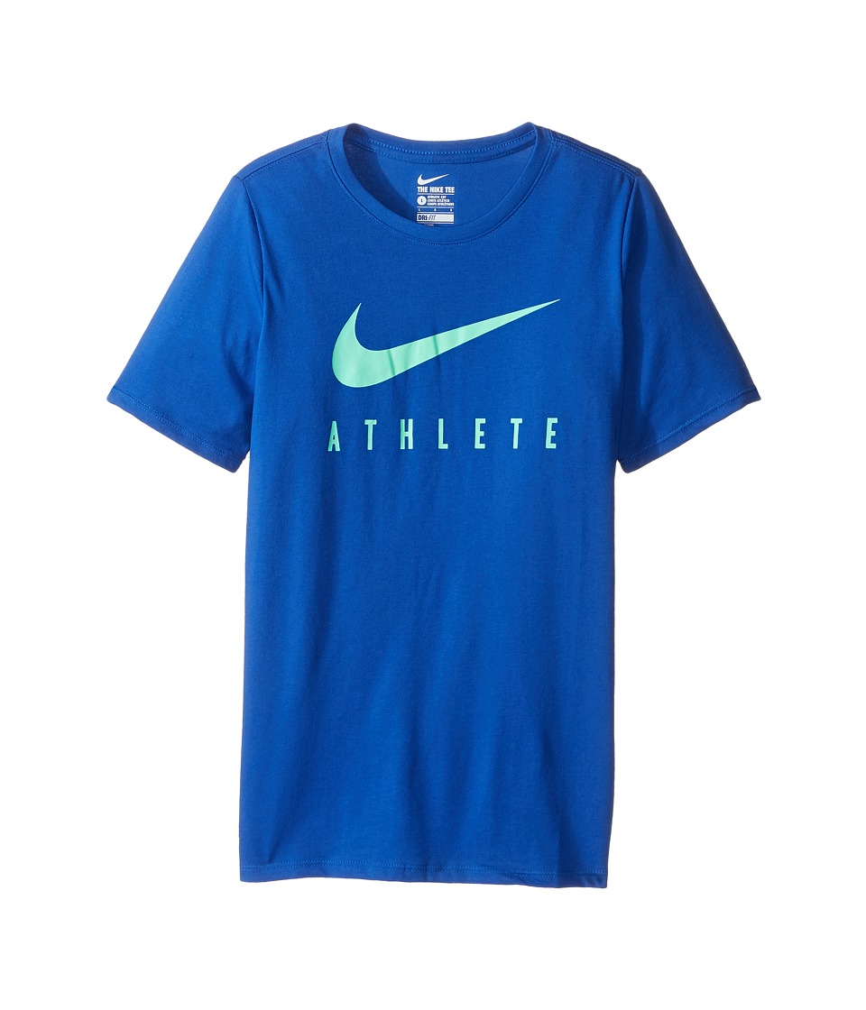 Nike Kids - Athlete Swoosh Training T-Shirt (Little Kids/Big Kids) (Game Royal/Green Glow) Boy's Clothing
