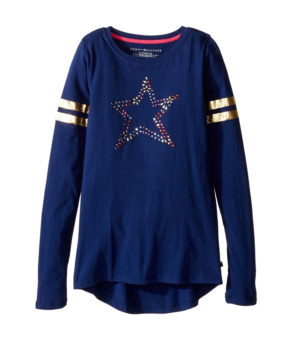 Tommy Hilfiger Kids - Long Sleeve Graphic Tee (Big Kids) (Flag Blue) Girl's T Shirt