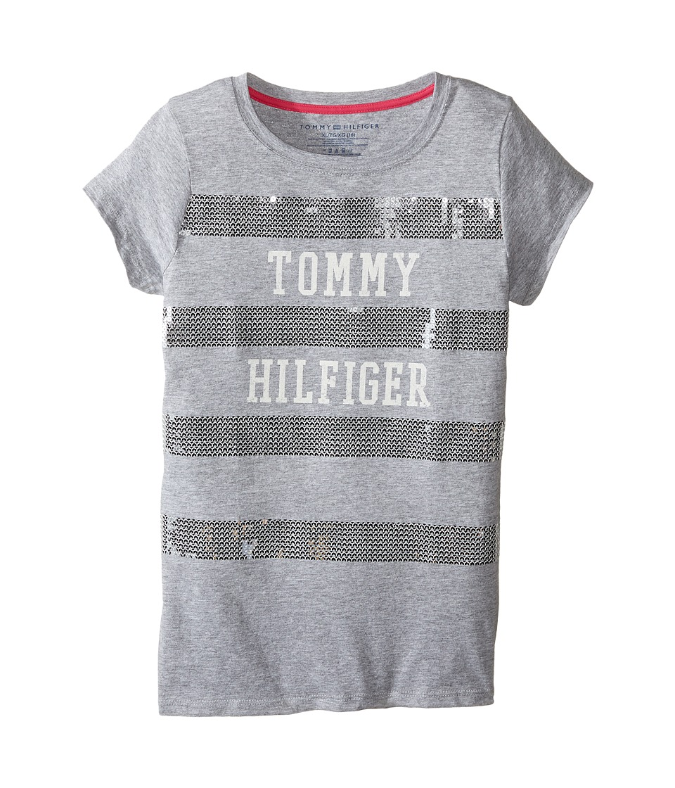 Tommy Hilfiger Kids - Striped Tee (Big Kids) (Pearl Heather) Girl's T Shirt