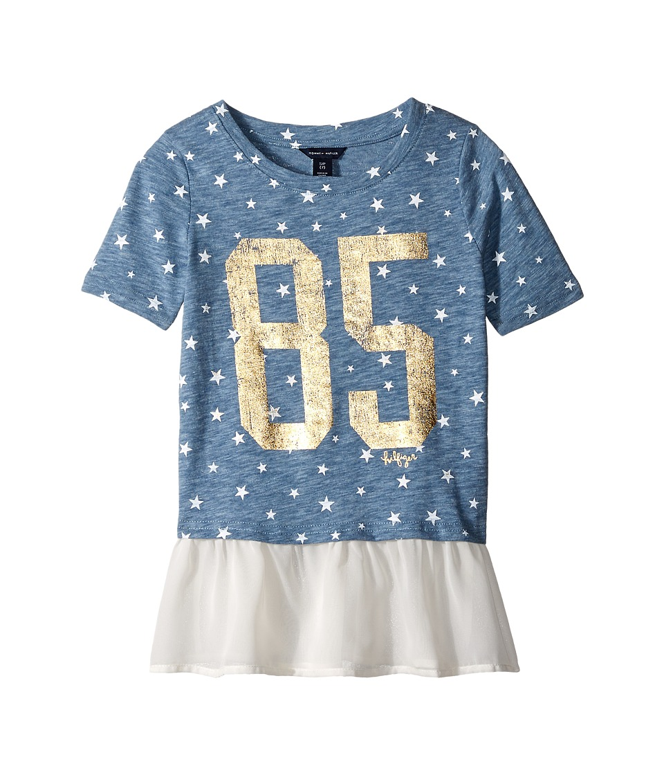 Tommy Hilfiger Kids - Star Mixed Media Fashion Top (Big Kids) (Navy Heather) Girl's Clothing