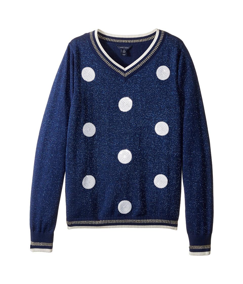 Tommy Hilfiger Kids - Sequin Dot V-Neck Sweater (Big Kids) (Flag Blue) Girl's Sweater