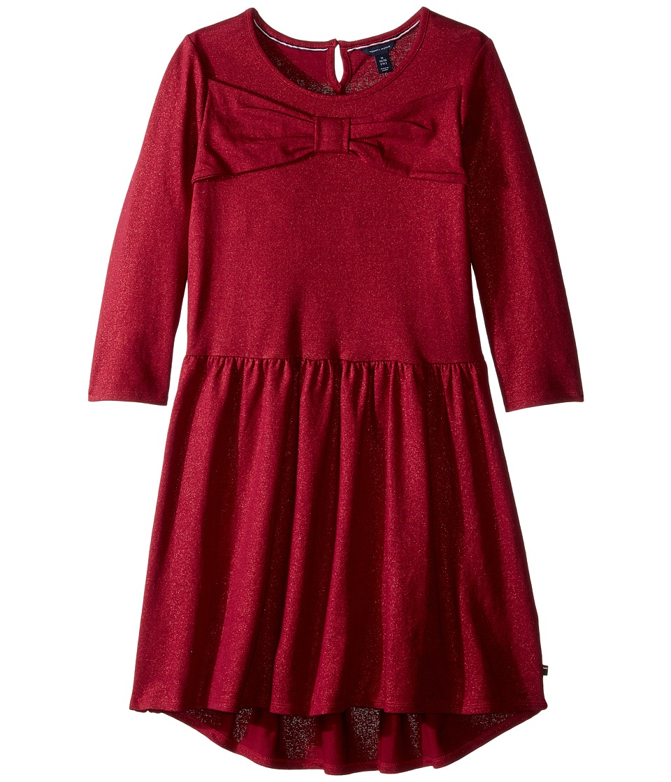 Tommy Hilfiger Kids - Bow Front Tiered Dress (Big Kids) (Red Berry) Girl's Dress