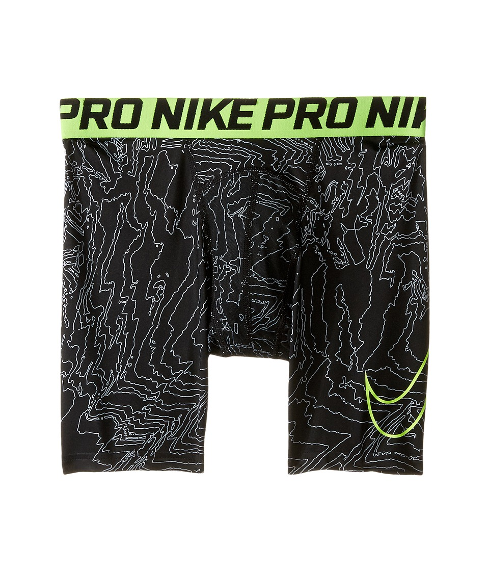 Nike Kids - Pro Cool Compression Shorts (Little Kids/Big Kids) (Black/White/Volt) Boy's Shorts