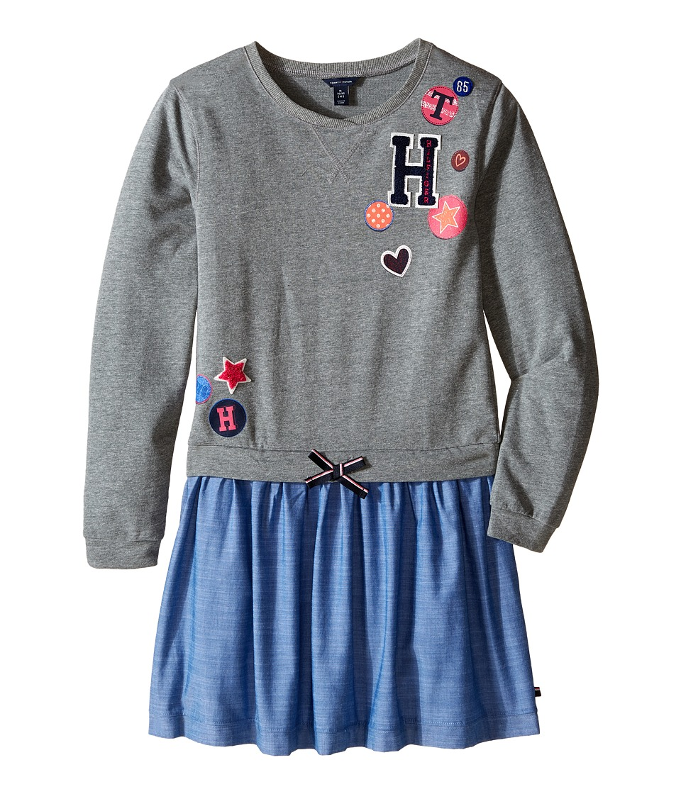 Tommy Hilfiger Kids - Varsity Sweatshirt Dress (Big Kids) (Storm Heather) Girl's Dress
