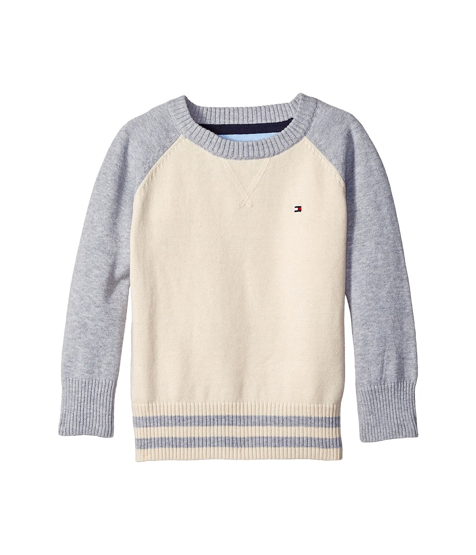 Tommy Hilfiger Kids - Daryl Raglan Crew Neck Sweater (Toddler/Little Kids) (Essex Ivory) Boy's Sweater