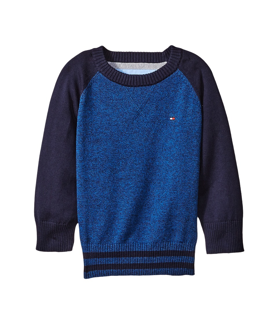 Tommy Hilfiger Kids - Daryl Raglan Crew Neck Sweater (Toddler/Little Kids) (Blue Jean) Boy's Sweater