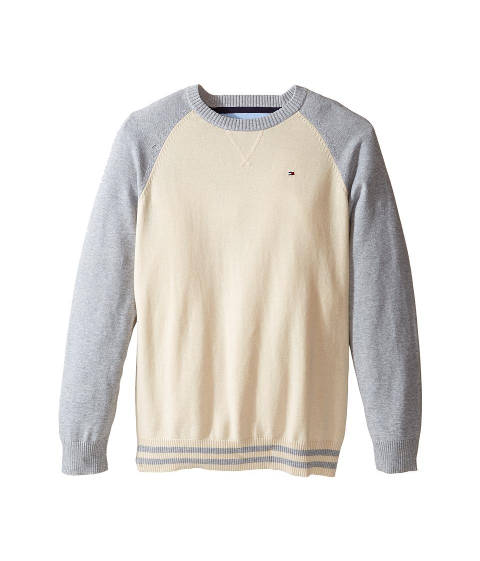 Tommy Hilfiger Kids - Daryl Raglan Crew Neck Sweater (Big Kids) (Essex Ivory) Boy's Sweater