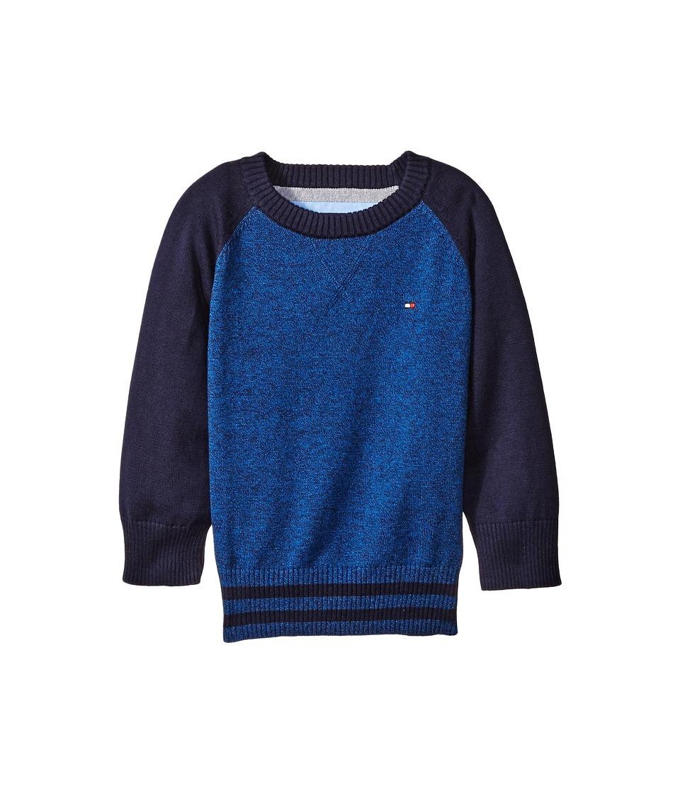 Tommy Hilfiger Kids - Daryl Raglan Crew Neck Sweater (Big Kids) (Blue Jean) Boy's Sweater