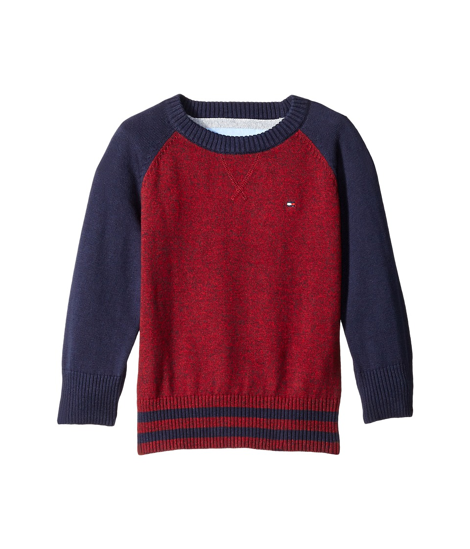 Tommy Hilfiger Kids - Daryl Raglan Crew Neck Sweater (Big Kids) (Bull's-eye Red) Boy's Sweater
