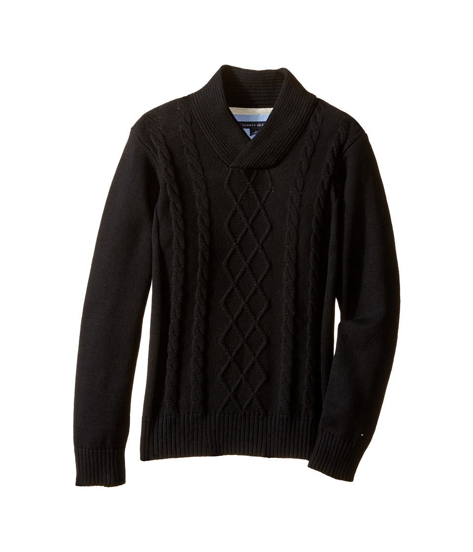 Tommy Hilfiger Kids - Sam Shawl Cable Sweater (Toddler/Little Kids) (Tommy Black) Boy's Sweater