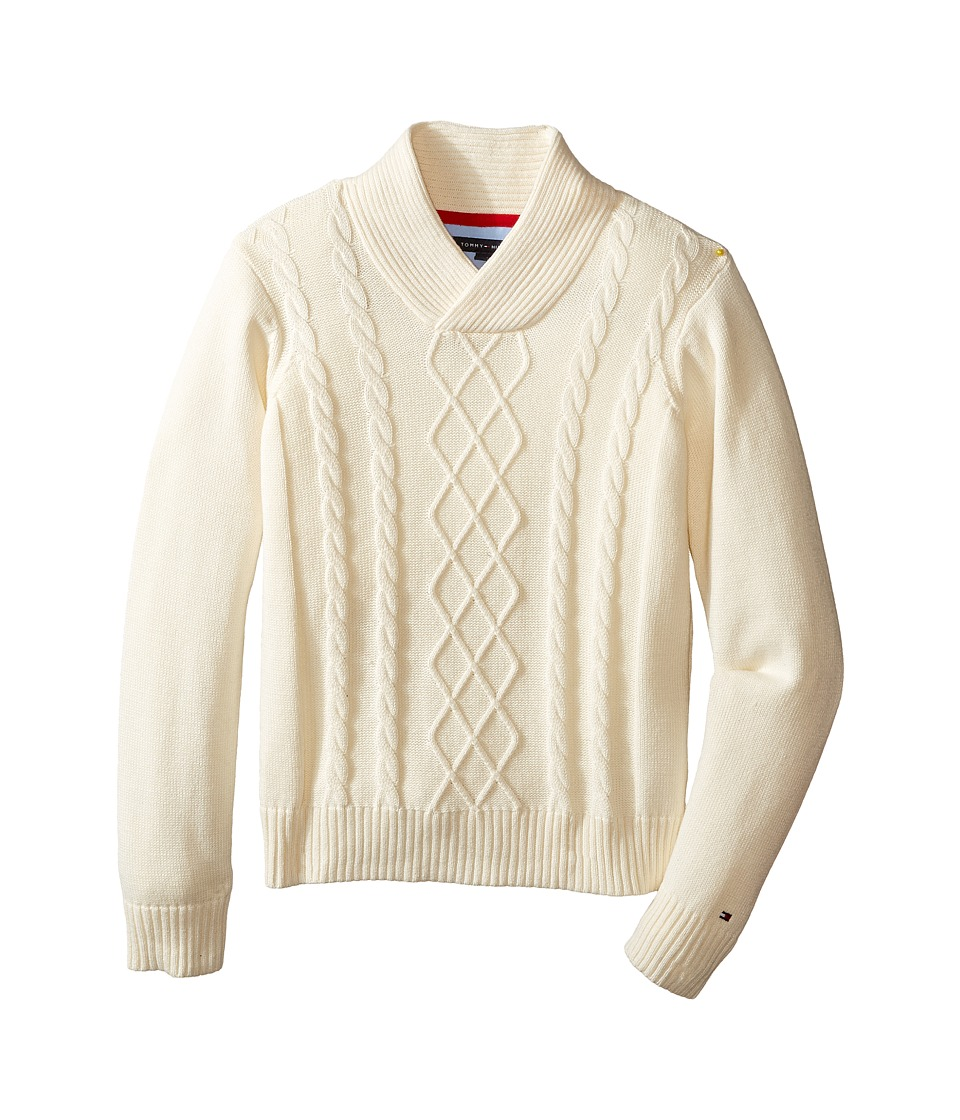 Tommy Hilfiger Kids - Sam Shawl Cable Sweater (Toddler/Little Kids) (Essex Ivory) Boy's Sweater