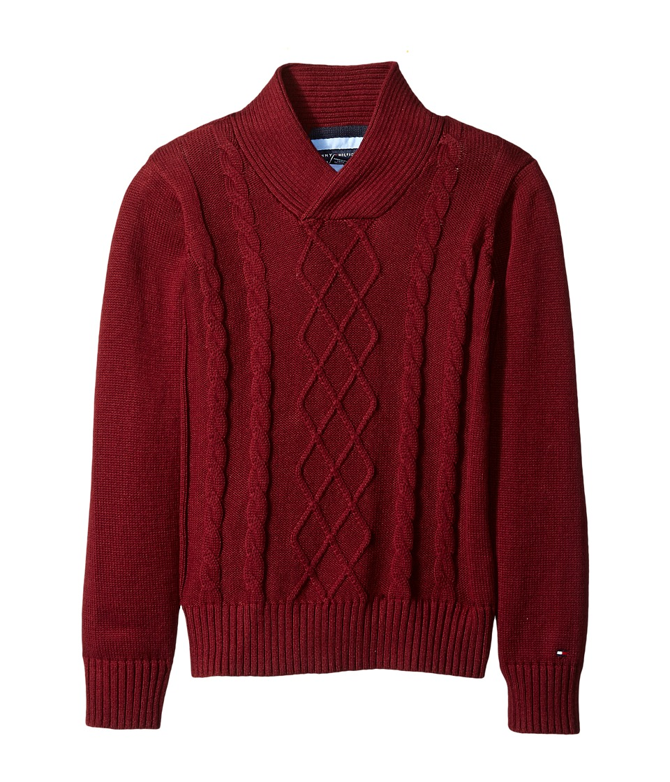 Tommy Hilfiger Kids - Sam Shawl Cable Sweater (Toddler/Little Kids) (Deep Wine) Boy's Sweater