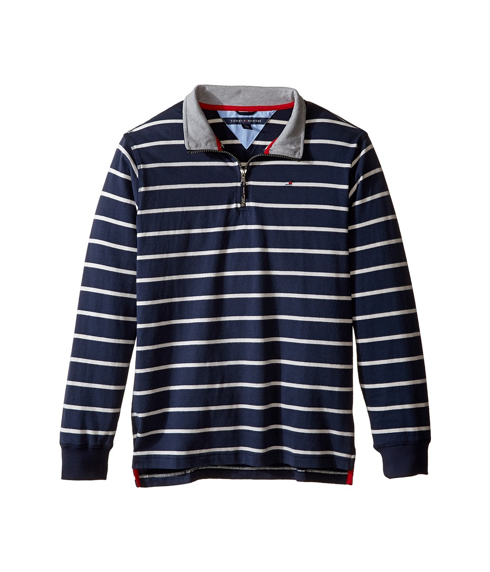 Tommy Hilfiger Kids - Stripe 1/2 Zip Sueded Jersey Sweater (Big Kids) (Swim Navy) Boy's Sweater