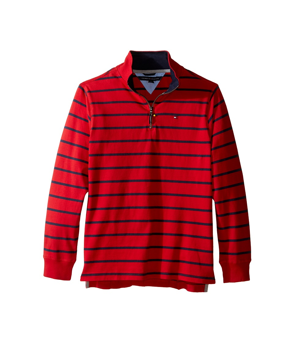 Tommy Hilfiger Kids - Stripe 1/2 Zip Sueded Jersey Sweater (Big Kids) (Apple Red) Boy's Sweater