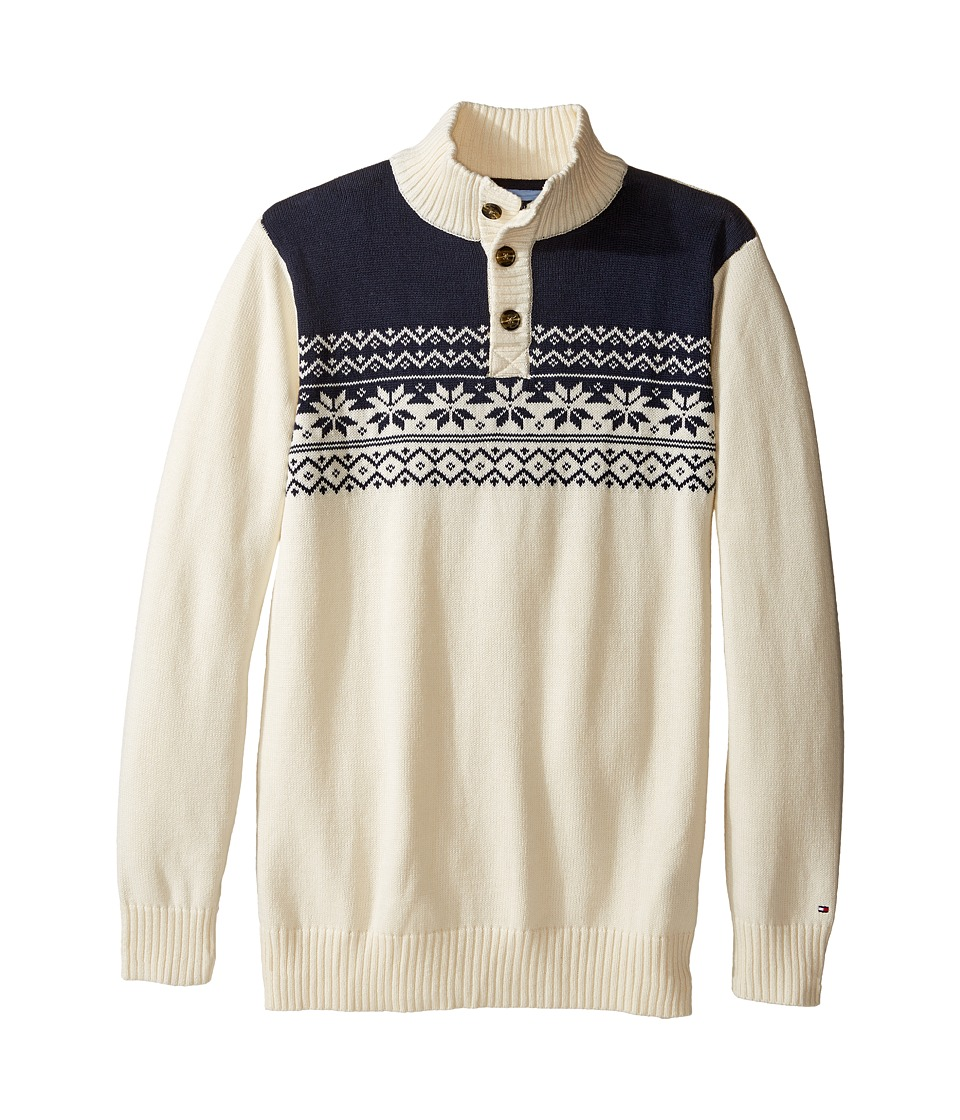 Tommy Hilfiger Kids - Dayton Button Mock Neck Sweater (Big Kids) (Essex Ivory) Boy's Sweater