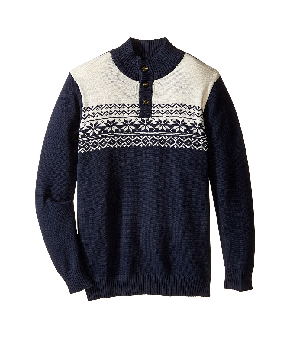 Tommy Hilfiger Kids - Dayton Button Mock Neck Sweater (Big Kids) (Swim Navy) Boy's Sweater