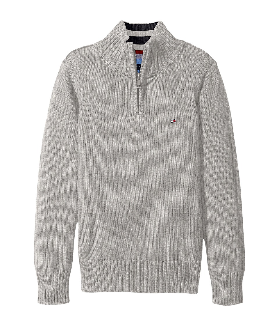 Tommy Hilfiger Kids - Edward 1/2 Zip with Rib Stitch Sweater (Toddler/Little Kids) (Grey Heather) Boy's Sweater
