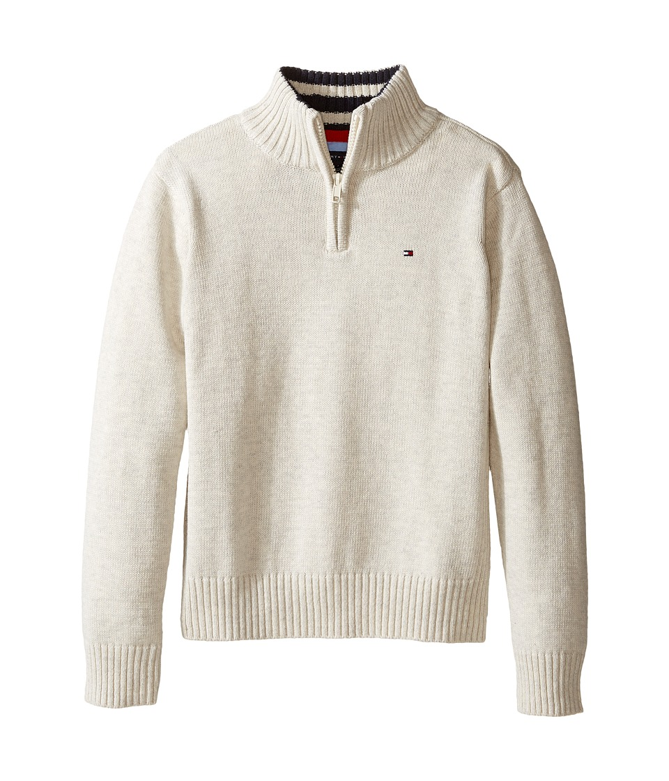 Tommy Hilfiger Kids - Edward 1/2 Zip with Rib Stitch Sweater (Toddler/Little Kids) (Oatmeal Heather) Boy's Sweater