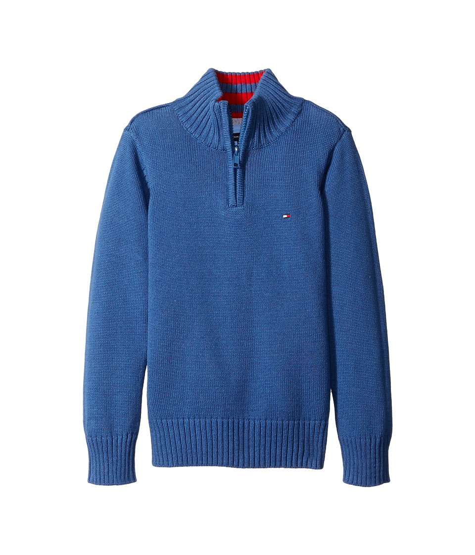Tommy Hilfiger Kids - Edward 1/2 Zip with Rib Stitch Sweater (Toddler/Little Kids) (Estonia Blue) Boy's Sweater