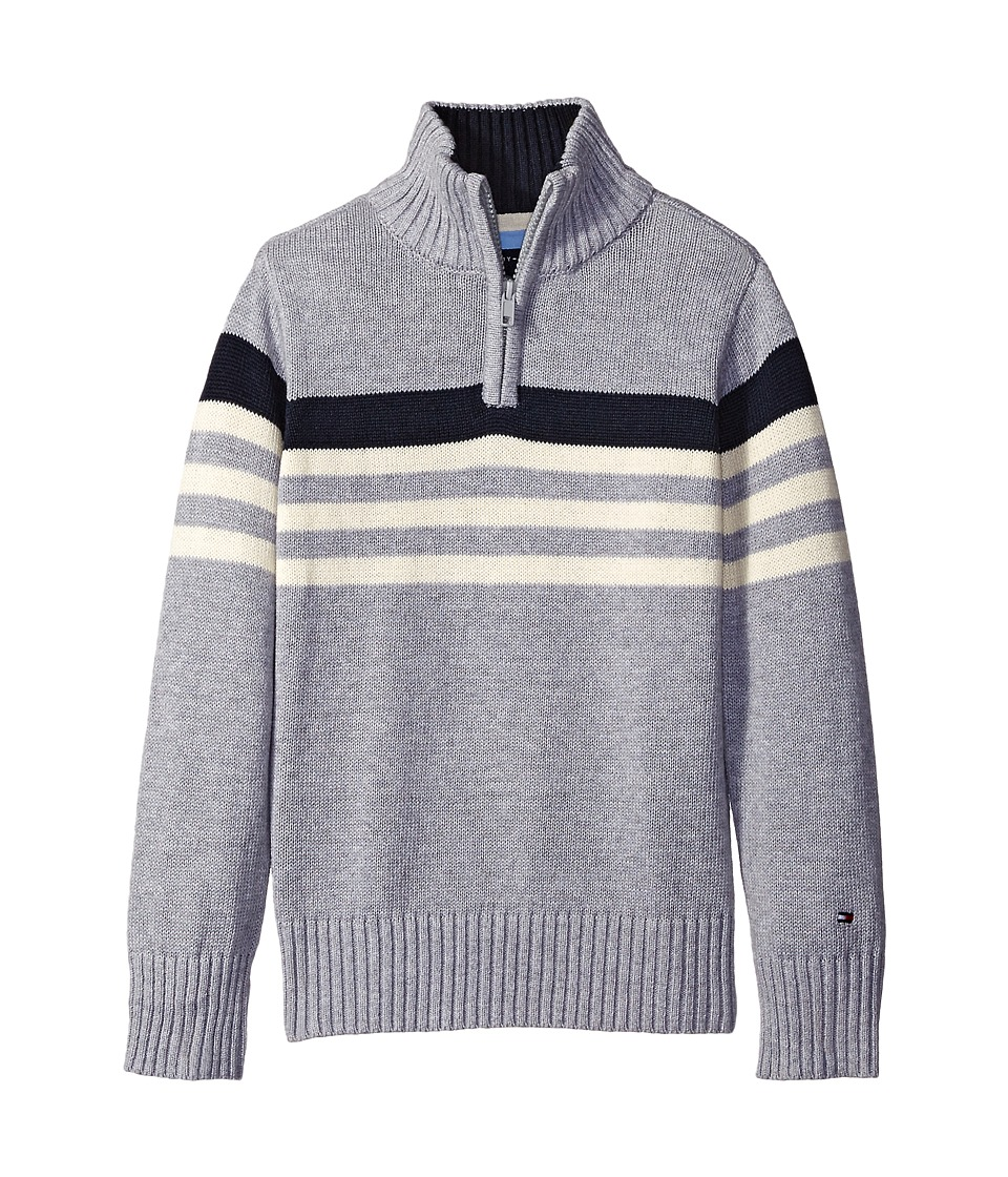 Tommy Hilfiger Kids - Peter 1/2 Zip Sweater (Big Kids) (Grey Heather) Boy's Sweater