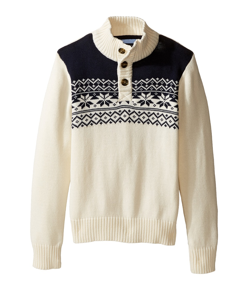Tommy Hilfiger Kids - Dayton Button Mock Neck Sweater (Toddler/Little Kids) (Essex Ivory) Boy's Sweater