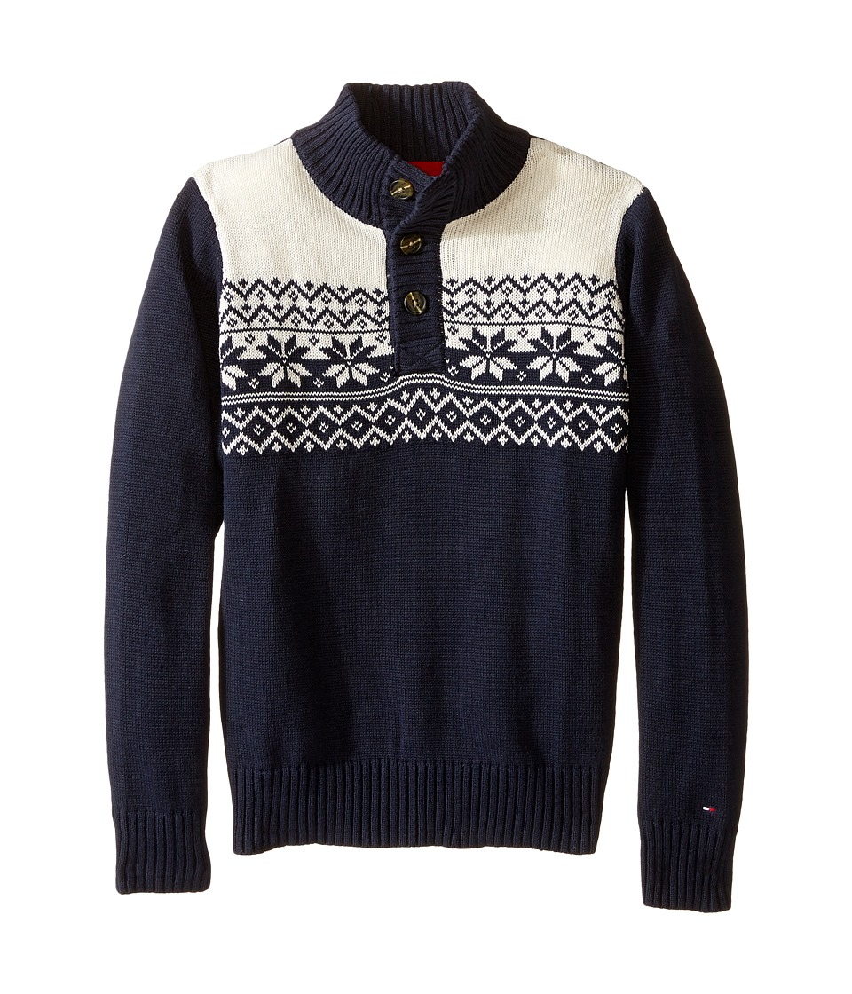 Tommy Hilfiger Kids - Dayton Button Mock Neck Sweater (Toddler/Little Kids) (Swim Navy) Boy's Sweater