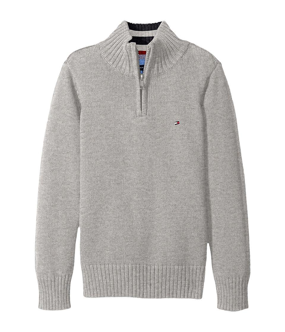Tommy Hilfiger Kids - Edward 1/2 Zip with Rib Stitch Sweater (Big Kids) (Grey Heather) Boy's Sweater