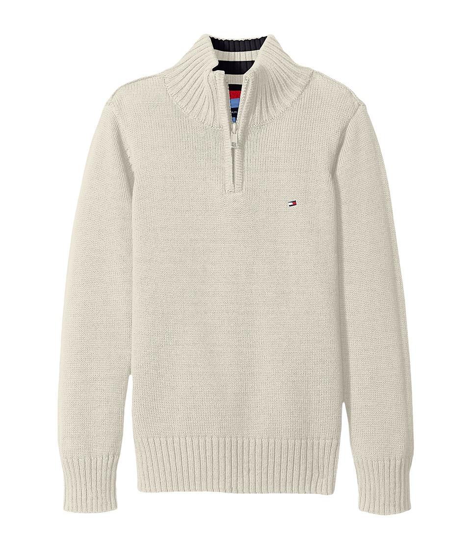 Tommy Hilfiger Kids - Edward 1/2 Zip with Rib Stitch Sweater (Big Kids) (Oatmeal Heather) Boy's Sweater