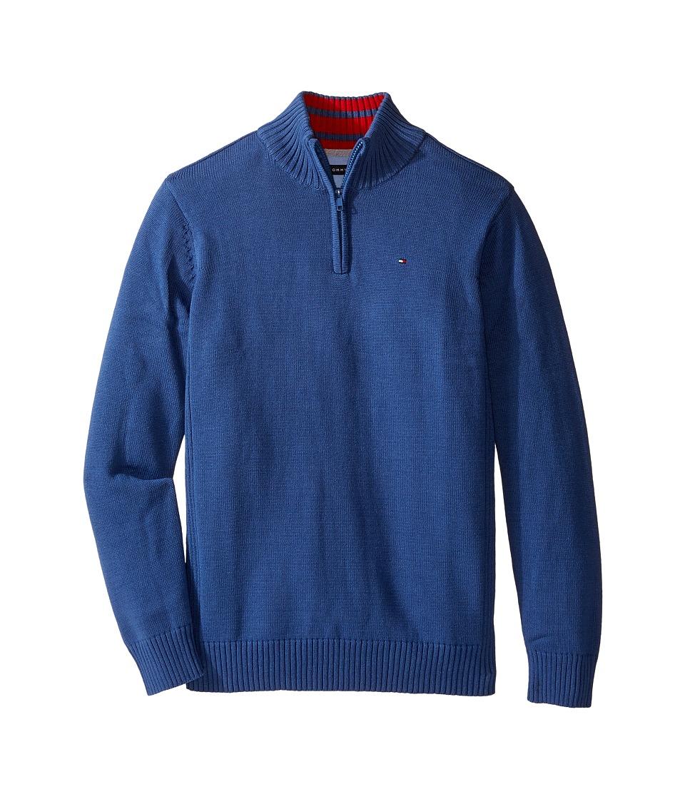 Tommy Hilfiger Kids - Edward 1/2 Zip with Rib Stitch Sweater (Big Kids) (Estonia Blue) Boy's Sweater