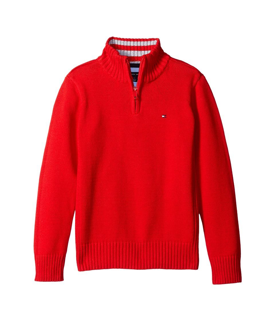 Tommy Hilfiger Kids - Edward 1/2 Zip with Rib Stitch Sweater (Big Kids) (Bull's-eye Red) Boy's Sweater