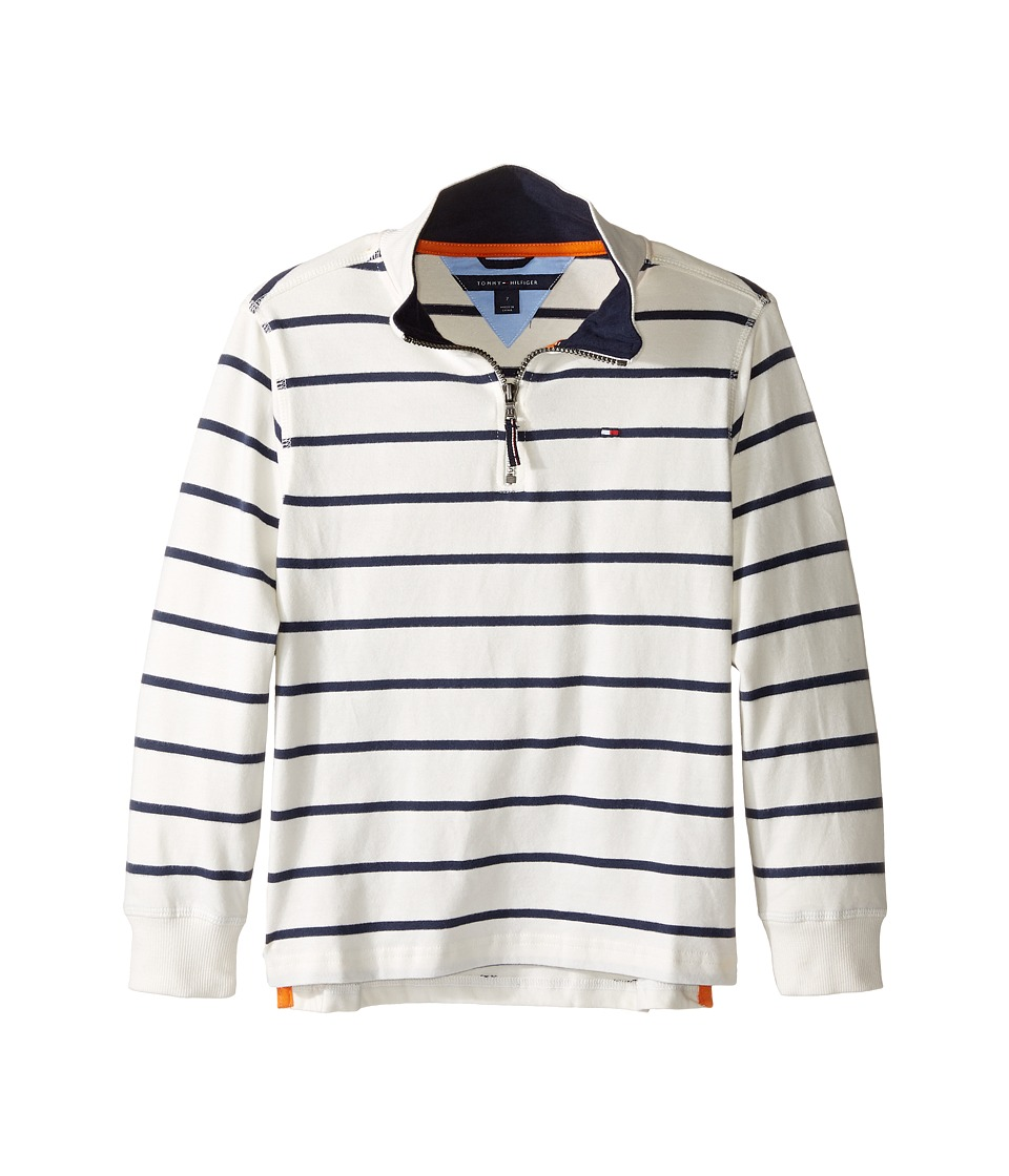 Tommy Hilfiger Kids - Stripe 1/2 Zip Sueded Jersey Sweater (Toddler/Little Kids) (Essex Ivory) Boy's Sweater