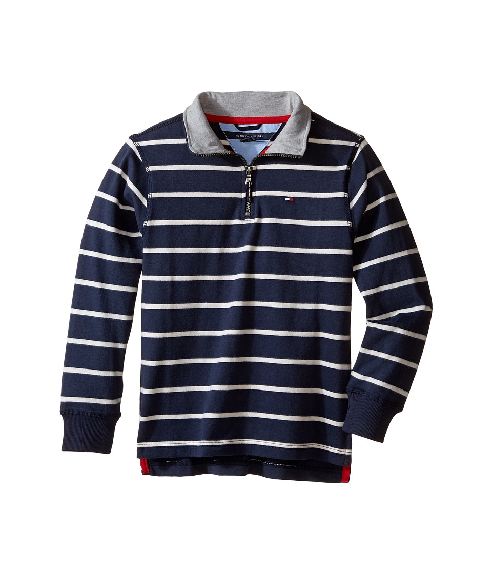 Tommy Hilfiger Kids - Stripe 1/2 Zip Sueded Jersey Sweater (Toddler/Little Kids) (Swim Navy) Boy's Sweater