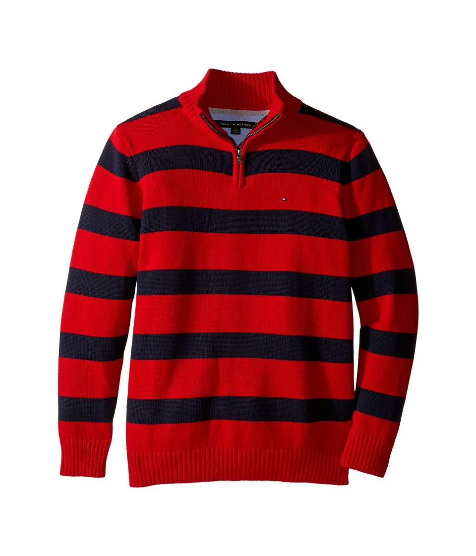 Tommy Hilfiger Kids - George Stripe Sweater (Big Kids) (Bull's-eye Red) Boy's Sweater