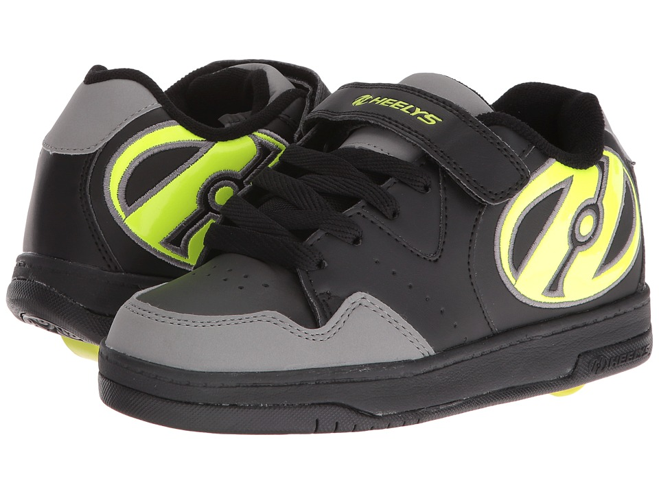 Heelys Hyper (Little Kid/Big Kid/Adult) (Black/Grey/Bright Yellow) Boys Shoes